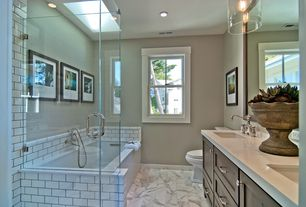 Traditional Full Bathroom with stone slab showerbath, Skylight, Simple Marble, flush light, Flat panel cabinets, Double sink