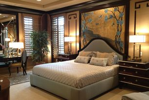 Traditional Master Bedroom with Carpet, Asian-inspired mural, Crown molding, Upholstered bed and headboard, Mural