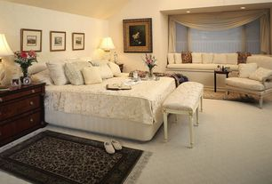 Traditional Master Bedroom with High ceiling, Carpet, Window seat