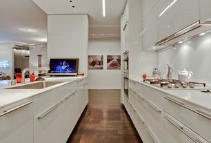 Contemporary Kitchen with European Cabinets, Custom hood, Galley, Simple Marble, Undermount sink, Flush