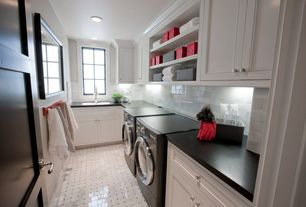 Traditional Laundry Room with complex marble floors, Jordan 15 in. w x 21.50 in. d x .75 in. h granite countertop in black