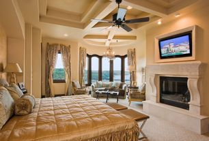 Modern Master Bedroom with Carpet, Darcy cross-leg tufted brown leather bench, Ceiling fan, stone fireplace, Exposed beam