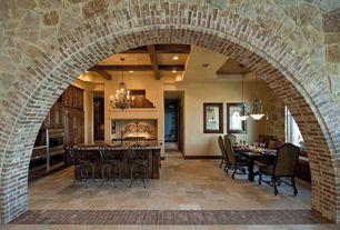Mediterranean Kitchen with Window seat, Maxim 12026AD Auburn Dusk Hampton 9 Light 2 Tier Empire Chandelier, Glass panel