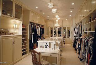 "Traditional Closet with flush light, Gallery french empire crystal chandelier lighting h30"" x w24"", Carpet, can lights"