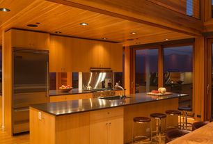 Contemporary Kitchen with European Cabinets, Glass panel door, Flush, Stainless Steel, Simple granite counters