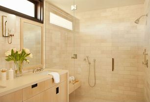 "Contemporary Full Bathroom with Flush, Strasser Woodenworks 24"" Framed Mirror with Rounded Edge - Natural Alder Stain, Shower"