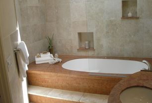 Modern Master Bathroom with Frameless glass shower door, Undermount sink, Drop in bath, Flame soapstone