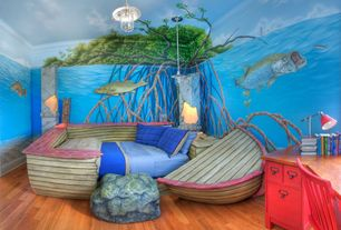 Country Kids Bedroom with Mural, Pendant light, Hardwood floors, Custom Mural with Tarpon, Snook, Redfish