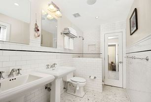 "Traditional Master Bathroom with Memoirs stately 30"" pedestal bathroom sink, specialty tile floors, Pedestal sink"