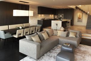 Modern Great Room with Paint 1, Waterfall countertop, Cb2 - uno sectional, Paint
