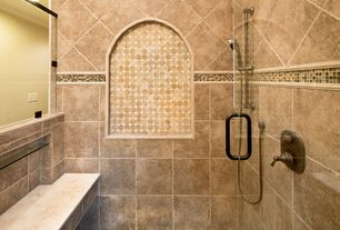 Traditional Master Bathroom with Powder room, Sauna, Shower, penny tile floors, Handheld showerhead, Standard height