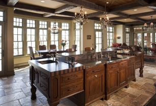 Traditional Kitchen with Casement, Undermount sink, Complex granite counters, Standard height, Chandelier, Kitchen island