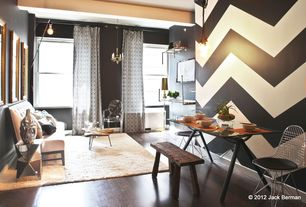 Contemporary Great Room with West Elm Faceted Foxed Mirror Side Table, Chevron black and white paint