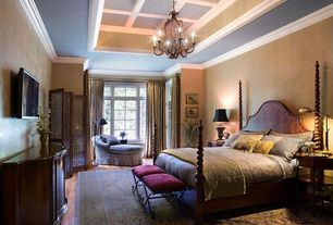 Traditional Master Bedroom with Medium Brown Finish Demilune Accent Cabinet, Progressive Furniture Marlestone Poster Bed