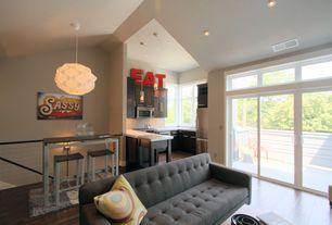 Contemporary Great Room with Armen living urbanity roxbury tufted sofa, Hardwood flooring