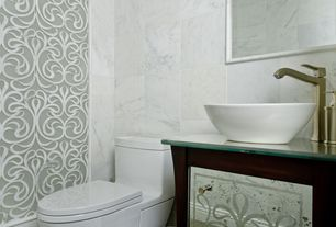 Eclectic Powder Room with Kingston brass perfection 5.875-in d white vitreous china round vessel sink, interior wallpaper