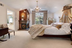 Traditional Master Bedroom with Casement, Chandelier, Upholstered cornice with draw draperies, Paint 2, picture window, Paint