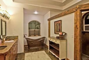 Master Bathroom with Paint, Sawyer copper double-slipper pedestal tub, Ms international juparana tier granite counter