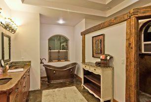 Master Bathroom with Flush, Flat panel cabinets, Limestone counters, slate floors, Minka Lavery Tofino 3 Light Vanity Light