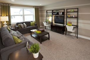 Contemporary Living Room with Carpet, can lights, Standard height, interior wallpaper, double-hung window
