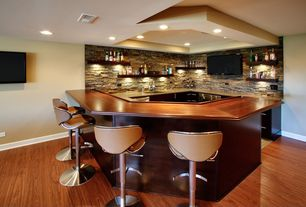 Contemporary Bar with Laminate floors, Flash Furniture Adjustable Height Bar Stool with Curved Seat and Back