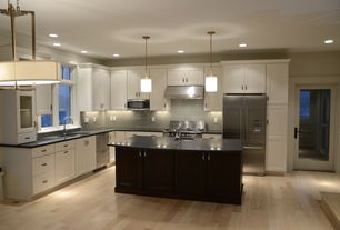 """Contemporary Kitchen with Kitchen island, Polished 3"""" x 6"""" glass tiles, Glass panel, Flat panel cabinets, Pendant light"""