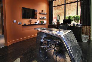 Contemporary Home Office with porcelain tile floors, Steel frame windows, South shore mikka 6 drawer dresser, Animal hide rug