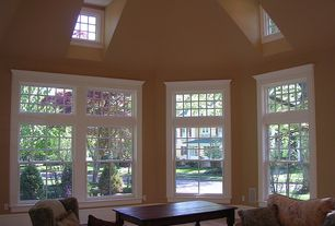 Traditional Great Room with Paint, Gabled window, Contrasting trim window casement, double-hung window, Recessed lighting