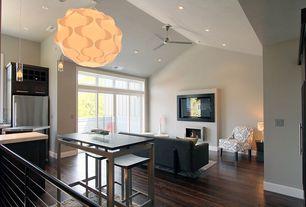 Modern Great Room with Hardwood floors, Paint 1, sliding glass door, Standard height, Transom window, Ceiling fan, Fireplace