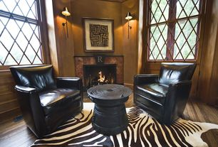 Eclectic Home Office with Wall sconce, Office Star Products Black Leather Club Chair, stone fireplace, Hardwood floors