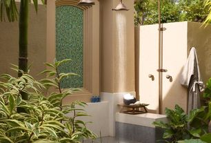 Tropical Master Bathroom with Antique Copper Shower Faucet w/ 8 inch Shower Head + Hand Shower