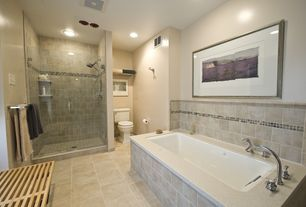Contemporary Master Bathroom with Ceramic Tile, Standard height, Window seat, Master bathroom, Bathtub, Jetted tub, Paint