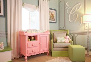 Contemporary Kids Bedroom with Standard height, interior wallpaper, Carpet, specialty window, no bedroom feature
