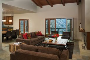 Modern Great Room with French doors, High ceiling, insert fireplace, stone tile floors, Balcony, Exposed beam, Fireplace