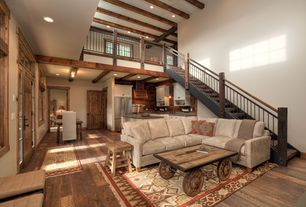 Eclectic Great Room with Built-in bookshelf, Kenton Fabric 2-Piece Sectional Sofa, Loft, Cathedral ceiling, Exposed beam