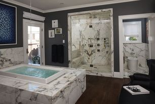Contemporary Master Bathroom with Paint, double-hung window, Bathtub, Bianco venatino, Crown molding, Standard height, Shower