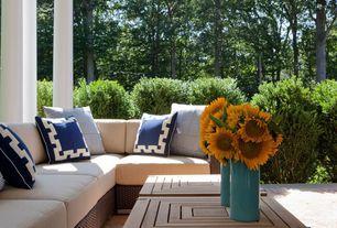 Contemporary Porch with Fence, Wrap around porch, exterior brick floors