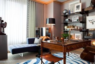 Contemporary Home Office with Carpet, Nuloom - zebra animal print black/ ivory rug, Paint, Iron camp stool, Crown molding
