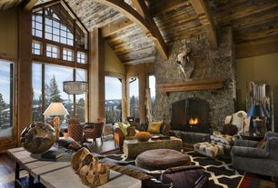 Rustic Living Room with Coronado 12.5 sq. ft. aspen fieldstone stone veneer flats