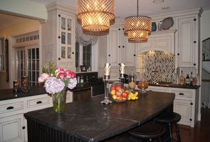 Eclectic Kitchen with Pental nebula satin granite, Daltile Gris Et Blanc Raindrop Natural Stone Tile