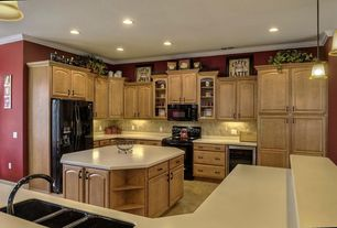 Country Kitchen with Wine refrigerator, Pendant light, U-shaped, Glass panel, Simple marble counters, Raised panel