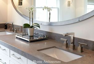 Contemporary Full Bathroom with Pental Quartz Grey Savoie, American standard times square widespread bathroom faucet