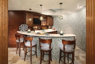 Contemporary Bar with Built-in bookshelf, Pendant light, slate floors