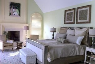 Traditional Master Bedroom with Arched window, Carpet