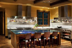 Contemporary Kitchen with L-shaped, Exposed beam, Inset cabinets, Glass counters, Kitchen island, Undermount sink