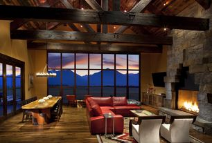 Contemporary Great Room with Exposed beam ceiling, Hardwood flooring