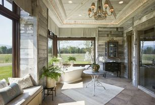 Country Master Bathroom with Chandelier, Crown molding, Gray reclaimed weathered wood peel & stick wood planking, Window seat