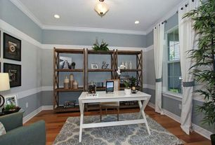 Modern Home Office with can lights, Standard height, Mason writing desk, Paint 2, Crown molding, double-hung window, Paint 1