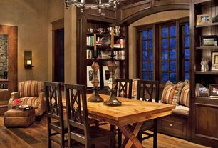 Craftsman Dining Room with Hardwood floors, Built-in bookshelf, Chandelier