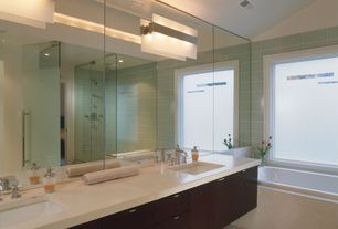 Contemporary Master Bathroom with European Cabinets, drop in bathtub, Double sink, Undermount sink, Shower, Rain shower